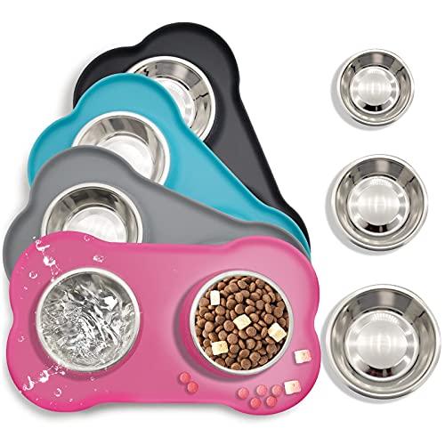 Ciotole per cani e gatti in acciaio inossidabile 2x200ml, 2 ciotole per mangiatoie per animali domestici con base in tappetino silicone antiscivolo,Assicurazione,Durevole (rosa)