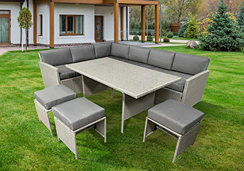 Knutsford Grey Rattan Corner Garden Furniture 9 Seat Sofa & Dining Table Patio Set