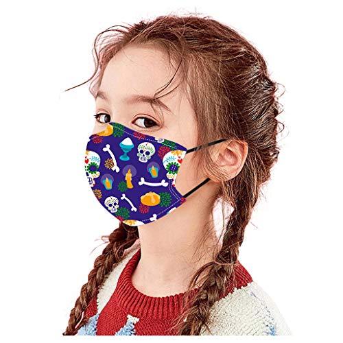 BINMUO Kinder Halloween Mund und Nasenschutz Baumwolle Mehrweg Multifunktionstuch mit Motiv Staubdichte Halstuch Stoff Bandana Tücher Mundschutz für Fasching (D)