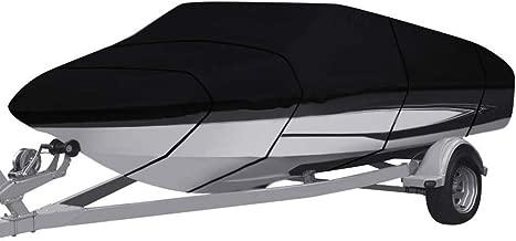 Fundas para Muebles de jardín Cubierta De Barco Al Aire Libre Resistente Al Agua - Cubierta De Barco Remolcable Runabout Fit V-Hull Tri-Hull Fishing Ski Pro-Style Bass Boats, Negro (Size : 11-13ft)