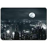 YANAIX Alfombra de Baño,Vista aérea de la Ciudad de Hong Kong en la Noche con Luna Llena Arquitectura mística impresión,Súper Suave Multiuso Lavable a Máquina75x45cm