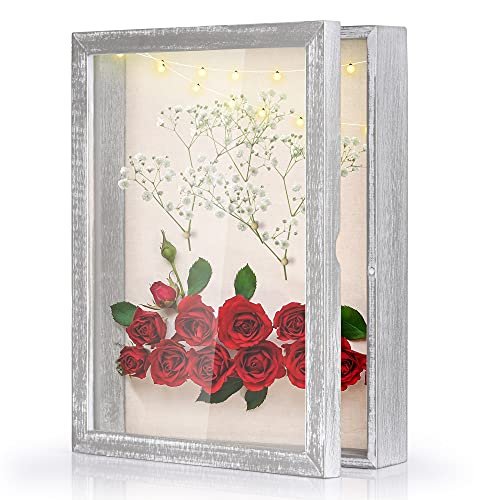 Love-KANKEI Shadow Box Display Case 11x14 Shadow Box Picture Frame with Linen Back Memorabilia Awards Medals Photos Memory Box Rustic Grey