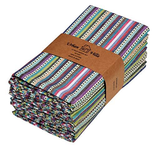 Urban Villa Impresión de Puntos y Rayas Servilletas 100% algodón Juego de 12 servilletas de Tela de tamaño Gris/marrón de 51x51 CMS Servilletas (Juego de 12) Azul Multi