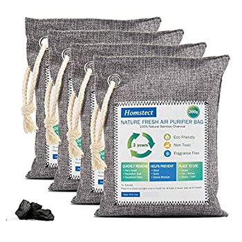 Homstect Bamboo Charcoal Air Purifying Bag Nature Fresh Air Purifier Bags Car Air Purifier Shoe/Closet Freshener 4Pack x 200g Activated Charcoal Bags Odor Absorber for Shoes/Car/Pets/Closet/RV