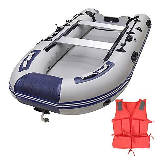 AAADRESSES Gommone Fondo Lega Alluminio Gommone Addensato, Barca Pesca in Kayak 2/4/6/8 Persone Hovercraft, con Indumenti Sicurezza,3.3m