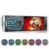 XOMAX XM-V418 Autoradio mit 4.1' / 10 cm Bildschirm I Bluetooth Freisprecheinrichtung | USB, SD, AUX | RDS | Anschlüsse für Rückfahrkamera und Lenkradfernbedienung I 7 Beleuchtungsfarben...