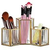 SUMTree Joyero de cristal y metal, portalápices, soporte para brochas de maquillaje, para dormitorio, oficina, baño y trabajo (3 ranuras, dorado)