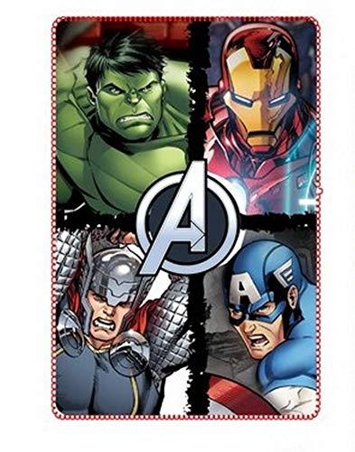 Coperta Plaid in Pile per Bambino degli Avengers Marvel con stampa supereroi Hulk, Thor, Iron Man e Capitan America, Morbida e Calda dai colori nitidi dimensione CM. 100x150