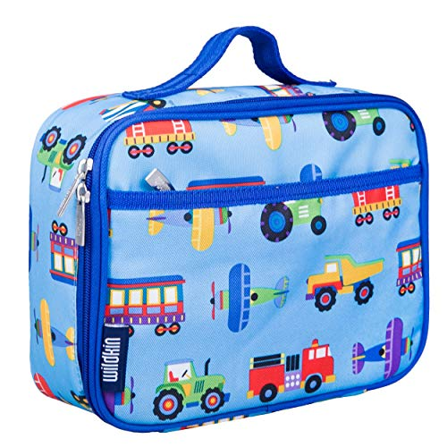 Wildkin Insulated Lunch Box for Boys and Girls  Perfect Size for Packing Hot or Cold Snacks for School and Travel  Mom s Choice Award Winner  BPA-Free  Olive Kids (Trains  Planes and Trucks)