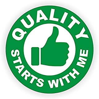 QUALITY STARTS WITH ME (2 PACK) circle vinyl Hard Hat Helmet decal - size: 2