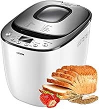 Bread Maker, 17 Setting(12 Program, 3 Crust Color & 2 Loaf Sizes), AICOOK2LB Automatic Bread Machine With Gluten Free Setting, LED Display, Nonstick Pan, 1H Keep Warm & Recipes