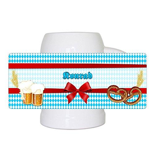 Bierkrug mit Namen Konrad und schönem Motiv mit Rauten , Bier und Brezel | Bier-Humpen | Bier-Seidel für Männer