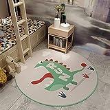 SunYe Alfombra con Estampado De Dinosaurio Pequeño De Dibujos Animados Tapete Redondo para Mesa De Café con Gato Rosa Amarillo Tapete Grueso Lavable Antideslizante para Ventana Salediza Adecuado para