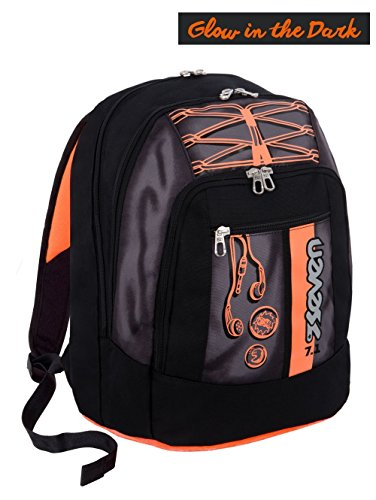 Zaino scuola new advanced SEVEN - COLORFUL BOY - Nero Arancione - SERIGRAFIA FOTOLUMINESCENTE - 30 LT - inserti rifrangenti
