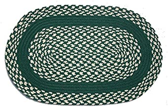 product image for Oval Braided Rug (2'x3'): Dark Green & Cream - Dark Green Band