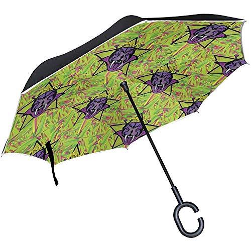 Omgekeerde Travel Paraplu Bever Animal Art Omgekeerde Winddichte UV Bescherming Paraplu's met C Vorm Handvat voor Auto Golf Outdoor