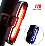 DON PEREGRINO B2-110 Lumens High Brightness Bike Rear Light Red/Blue, Powerful LED Bicycle Tail Light Rechargeable with 5 Steady/Flash Modes