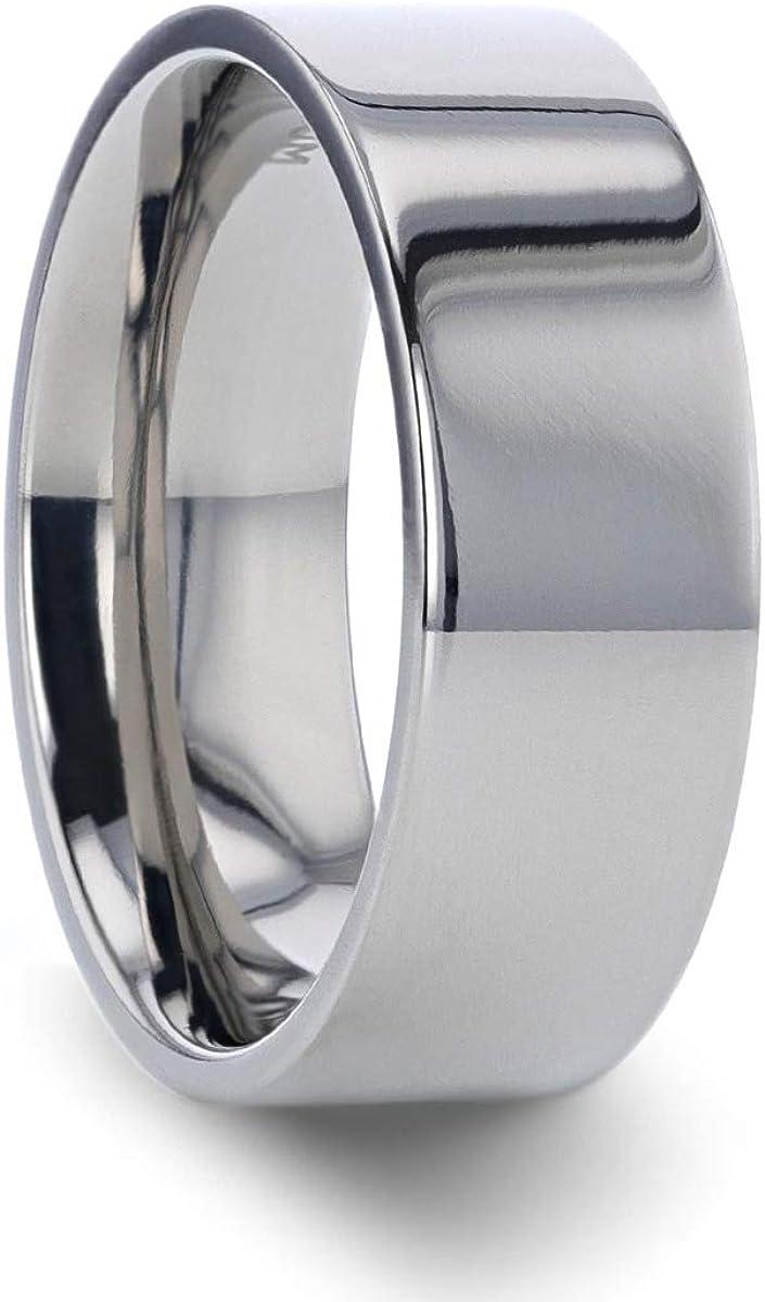 Thorsten Hardy | Titanium Rings for Men | Lightweight Titanium | Comfort Fit | Polished Finish Flat Style Titanium Wedding Ring - 8 mm