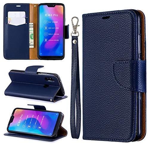 Xiaomi Mi A2 Lite Hülle, SATURCASE Litschi PU Lederhülle Magnetverschluss Brieftasche Standfunktion Handschlaufe Tasche Schutzhülle Handyhülle Hülle für Xiaomi Mi A2 Lite/Redmi 6 Pro (Blau)