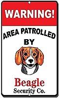 アルミニウムメタルサインおもしろい警告領域、ビーグル犬の有益な目新しさの壁アート垂直