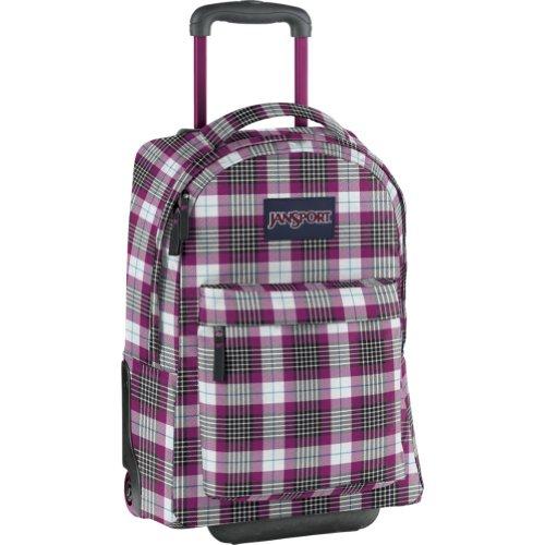 Jansport Superbreak Wheeled Backpack (White/Ultraviolet Rhonda Plaid)