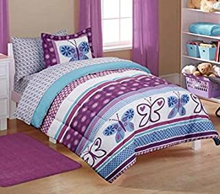 Mainstays Kids' Purple Butterfly Coordinated Bedding Set - TWIN