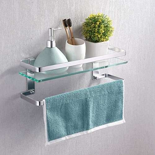 KES Bathroom Glass Shelf with Anodized Aluminum Towel Bar and Rail Extra 8MM-Thick Tempered Glass Rustproof Rectangular Storage Organizer Wall Mount Silver, A4127A