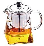 Tebery - Tetera de cristal transparente con filtro de acero inoxidable resistente al calor, ideal para té y café, 750 ml