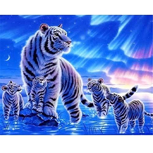 DIY Oil Painting Paint by Number Kit for Kids Adults Beginner 16x20 inch - White Tigers,Drawing with Brushes Christmas Decor Decorations Gifts (Without Frame)