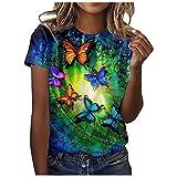 FOTBIMK Blusa de manga corta con estampado floral casual para mujer, con cuello en O, blusa suelta, camiseta tipo túnica, talla grande para verano al aire libre