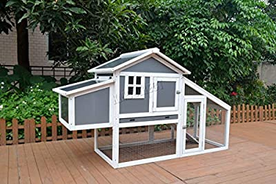 WestWood Wooden Pet Rabbit Bunny Chicken Guinea Hutch House Shelter 2 Tier Large Coop Run nest boxWPH02 Grey White by KMS