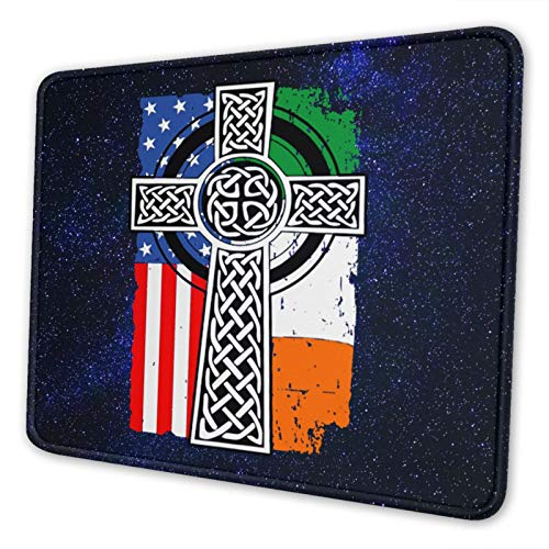 Mousepad Mouse Mat Mouse Pad Celtic Cross Irish American Flags Non-Slip Rubber Mousemat Gaming Mouse Pad for Computers Laptop