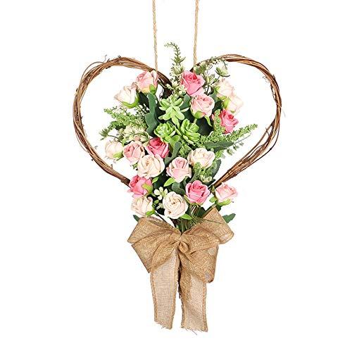 Athemeet Forma Corona de Flores Artificiales de Rose Guirnalda de la Guirnalda del corazón con el Colgante de Puerta de la luz para el hogar Pared del jardín de decoración