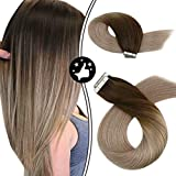 Moresoo Extension Cheveux Adhesive Naturel Adhesif Remy Hair 18 Pouces Skin Weft Tape in Hair Extensions Vrais Cheveux Humains Ombre Couleur #4 Marron à #18 Blond 50G 20PCS
