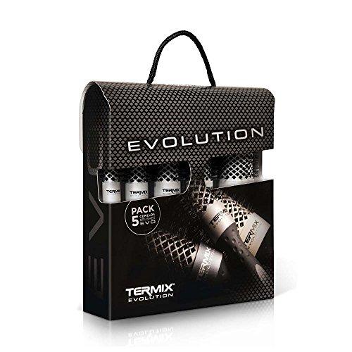 Termix - Evolution Basic - Brosse Ronde Professionnelle pour Cheveux Normaux et deshydratés - Coffret 5 brosses