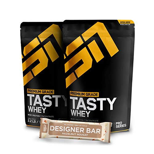 2 x 1000g. ESN Tasty Whey Protein + 1 x Gratis ESN Tasty Bar Proteinriegel - 2 x Double Chocolate – Molkenproteinkonzentrat reich an EAAs und BCAAs – Instant – 66 Portionen – Made in Germany