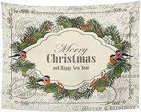 タペストリークリスマスと新年のみごと松の枝ナナカマドの果実ヴィンテージグリーンタペストリー壁掛け150x130cm