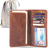Leather Long Wallet for Men | Brown Bifold Rodeo Wallet & Checkbook Cover | Gift
