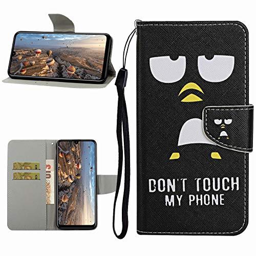Miagon Hülle für Samsung Galaxy A10,Handyhülle PU Leder Brieftasche Schutz Flip Case Wallet Cover Klapphüllen Tasche Etui mit Kartenfächern Stand,Pinguin