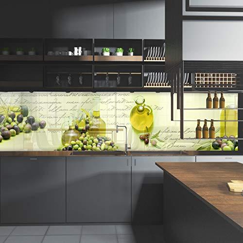 wandmotiv24 Küchenrückwand Oliven Öl Schrift Grün Flasche Glas 210 x 50cm (B x H) - Acrylglas 4mm Nischenrückwand, Spritzschutz, Fliesenspiegel-Ersatz, Deko Küche Karaffe M1157
