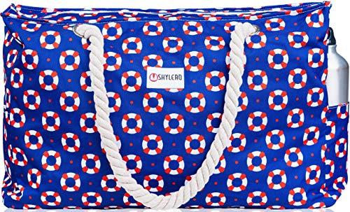 Strandtasche XL 100% wasserdicht (IP64) L22 xH15 xW6 Reißverschluss Handytasche Schlüsselhalter Flaschenöffner, Damen, Rettungsringen, X-Large