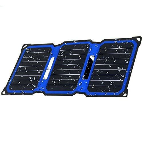 SUNLIT Solar Charger Foldable | 14W ETFE Technology | Auto-Restart | Water Resistant | Adjustable Integrated Stand | 5V USB Solar Panel for iPhone iPad Galax, Note, LG, Nexus, HTC [14W]