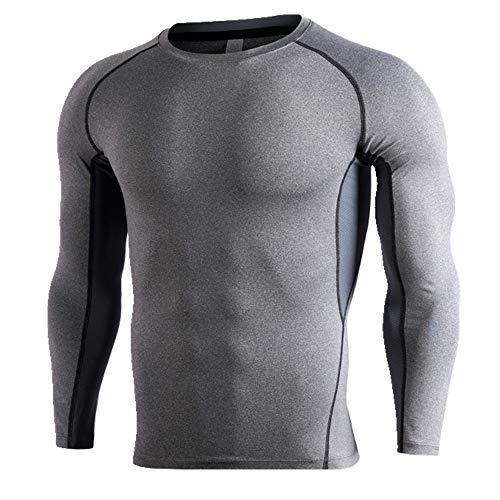 NOBRAND Fitness Top Herren Training Running Speed Dry Tight Long Sleeve Sportswear Gr. XXL, grau