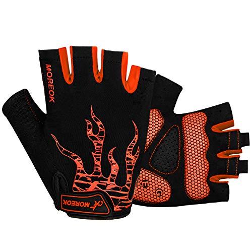Rękawiczki rowerowe bez palców rękawiczki rowerowe bez palców rękawiczki do rowerów górskich dla mężczyzn i kobiet, antypoślizgowe amortyzujące wstrząsy rękawice rowerowe MTB rękawice do jazdy na siłowni sportów treningu fitness (pomarańczowe, S)