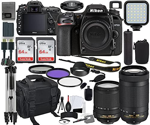 Nikon D7500 DSLR Camera with 18-140mm (1582) & 70-300mm Lens Bundle + Prime Accessory Kit Including 128GB Memory, Light, Camera Case, Hand Grip & More