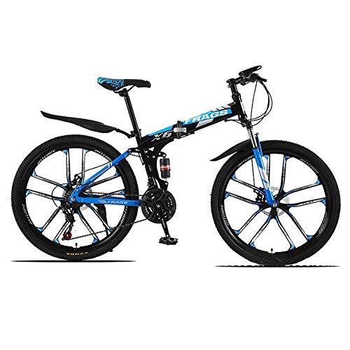 SXXYTCWL 26-Zoll-Mountainbikes, Hardtail mit hoher Kohlenstoffstahl, verdickter Kohlenstoffstahlrahmen, Doppelscheibenbremse, 10 Schneider Rad (Farbe: Schwarzblau, 21 Geschwindigkeit) jianyou