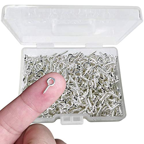 300PCS Small Screw Eye Pins,10 x 5mm Eye pins Hooks,Mini Screw Eye Pin Peg for Arts & Crafts Projects,Self Tapping Screws Hooks Ring for Cork Top Bottles & Charm Bead & DIY Jewelry Making (Silver)