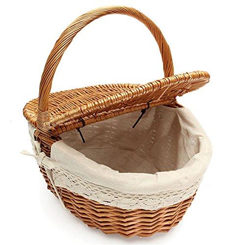 Cesta de picnic de mimbre hecha a mano Cesta de almacenamiento de compras que acampa con doble tapa y mango - Color madera pequeña