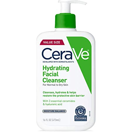CeraVe Hydrating Facial Cleanser | Moisturizing Non-Foaming Face Wash with Hyaluronic Acid, Ceramides and Glycerin | 16 Fluid Ounce