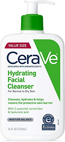 CeraVe Hydrating Facial Cleanser | Moisturizing Non-Foaming Face Wash with Hyaluronic Acid, Ceramides & Glycerin | 16...